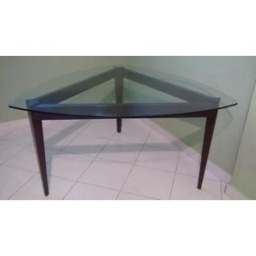 Mesa Jantar Triangular Com Tampo De Vidro 6 Lugares