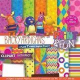 Kit Imprimible Pack Fondos Backyardigans 50 Clipart