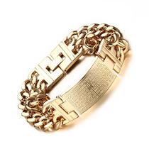 Pulseira Bracelete Masculino Aço Padre Nosso Banhado A Ouro