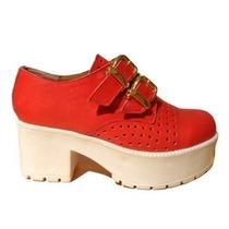 Zapatos Con Plataforma De Cuero