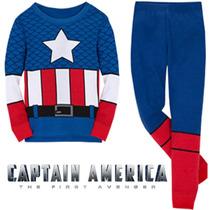 Pijama Niños Capitán América Tipo Disfraz Gratis Obsequio