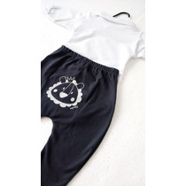 Conjunto Infantil Menino Bebe Body Calça Saruel Branco Azul