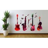 Adesivo Parede Instrumentos Guitarra Violão Saxofone Música