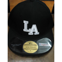 Gorra Dodgers De La New Power Original 7 Y 7 1/8 Negra Bco