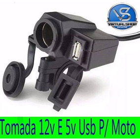 Tomada 12v E 5v Usb Para Moto Carega Celular Gps