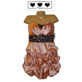 Vestido De Fiesta Talla 13 Corto Straples Rosa Coral Hermoso