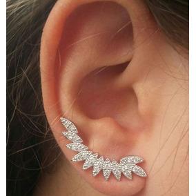 Brinco Ear Cuff Folhas Ródio Branco Semi Joia Tendência!