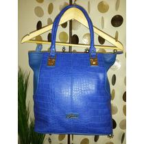 Cartera - Bolso Marca Guess Elegante Original Azul- Dorado