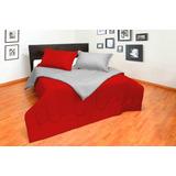 Sobre Cama Tipo Comforter Doble Faz Gris-rojo Doble 140x190