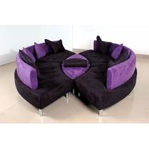 Conjunto Set Sofá Redondo Sala De Estar Almofadas + Pufe