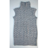 Sweater Bicolor Gris Tejido A Mano, Cuello Alto.