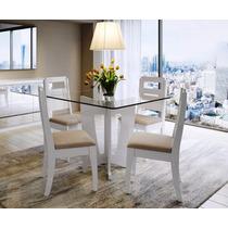Mesa De Jantar Com Vidro Veneza 4 Lugares - Cor Branco Gloss