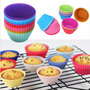 12 Mini Moldes Silicona Especial Cupcake, Muffins, Queque