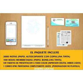 Notas Recibos Hojas Membretadas Paquete Imprenta