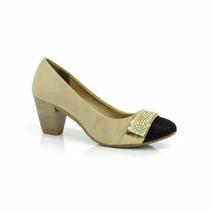 Sapato Fem. Dakota Natural-preto-dour. B7484 Mega Promoção