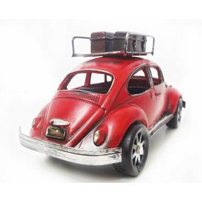 Fusca Vintage Retro 18cm Vermelho Miniatura Com Bagageiro