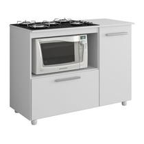 Balcão Armario Cozinha Microondas E Cooktop 2 Portas Branco