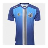 Camisa Santos Fc Uniforme 3 Azul Patrocinio Kappa 2017 Top