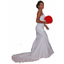 Vestido De Noiva Sereia Renda Francesa Lindo Pronta Entrega