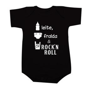 Body Leite Fralda E Rock And Roll - Modelo 03 - Body Rock