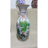 Jarron O Florero Chino En Porcelana Antiguo Grande
