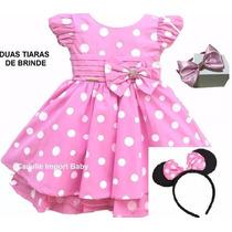 Vestido Infantil Festa Minnie Rosa Luxo Com 2 Tiara Minie