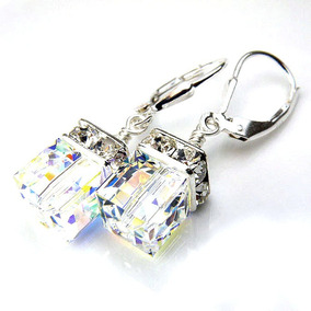 Aros Cristal Cubo Boreal 6mm Plata Real Swarovski Elements.