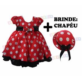 Vestido Fantasia Minnie Infantil Festa Joaninha Chapéu Minie