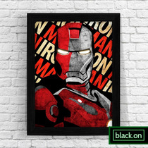 Poster Moldura Quadro Marvel Homem Ferro Iron Man A4 30x20cm