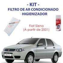 Kit Fiat Siena: Filtro Ar Condicionado + Spray Higienizador