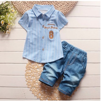 Conjunto Camisa Social E Bermuda Jeans Meninos 7-9 Meses