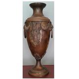 jarron bronce antiguo decorado cm alto