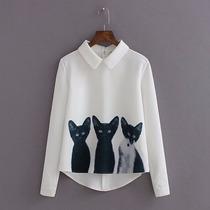 T-shirts Blusa Roupa Feminina Fashion Estampa Gato Importada