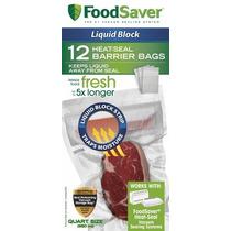 Foodsaver Líquido Bloque Sello Térmico Quart Bolsas, 12 Con