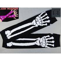 Luvas Sem Dedo Pretas Caveira Esqueleto Rock Punk Cosplay
