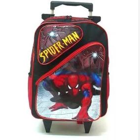 Mochila Homem Aranha 2 Bolsos Rodinhas Spider Man Tam G F1