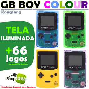 Gb Boy Colour Tela Iluminada Luz + 66 Jogos = Game Boy Color