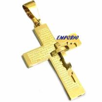 Crucifixo Masculino Banhado Ouro 18k Arte Em Alto Relevo