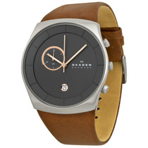 Relógio Skagen Havene Charcoal Dial Brown Leather Men