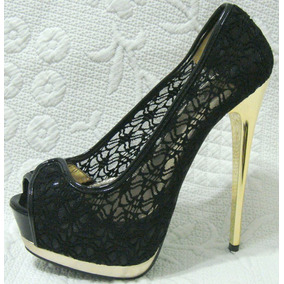 Zapatos 37 Importados Plataforma Encaje Negro (ana.mar)