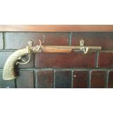 Perchero Antiguo Pistolon En Cedro Y Bronce