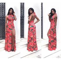 Vestido Estampa Floral Roupas Justa Longo Cumprido Femininas