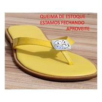 Rasteirinha Feminina Couro Barato Exportação Única Amarela