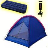 Carpa 2 Personas Camping + Colchon 2 Plaza + Inflador