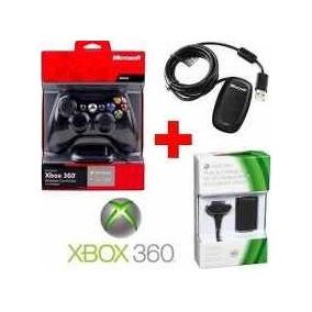 Controle Sem Fio Microsoft Xbox 360 + Receiver + Bateria