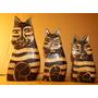 3 Gatos Pusheen En Madera Precio Por Todos 12x5, 10x4 Y 9x4