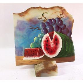 Pinturas Sandias Oleo Acrilico En Laja De Piedra 25x25 Cm