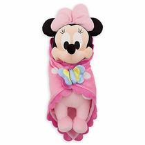 Pelúcia Minnie Rosa Baby Com Cobertor Original Disney 30cms
