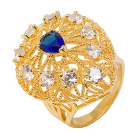Anel - Festa E Formatura Dourado Pedra Azul Cristal Aro 19