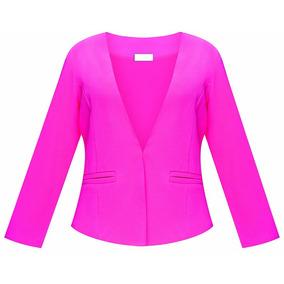 Saco Blazer Color Fucsia 95113 Moda Urbana Tallas Ch - Xl